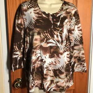 Chico's brown 3/4 sleeve print top size 3